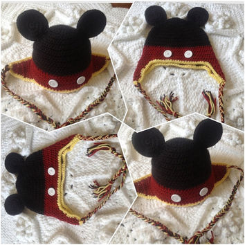 Handmade Mickey Mouse Club House style Red and Black Hat Inspired crochet earflaps hat Child Children Teen Adult Beanie Photo Prop