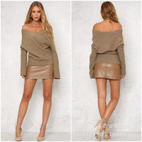 Autumn Winter Knit Criss Cross v-Neck off-the-shoulder Outerwear Top a13319