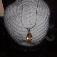 Huge Teardrop Pear Shape Golden Citrine Gemstone Pendant with Sterling Silver Necklace Free Shipping