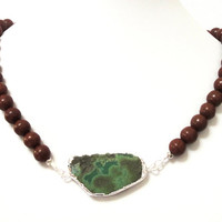 Chrysoprase Necklace, Green Brown Silver Gemstone Beaded Necklace, Green Flat Double Bail Pendant Necklace