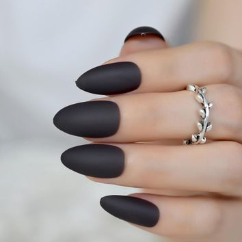 New Gray Grey Black Matte Stiletto Fake Nails Almond Pointed Press on Frosted Oval False Nail Full Cover Artificial Faux Ongles