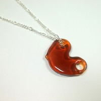 Glass Amber Shatter Pendant Necklace