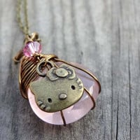 Bronze wire wrapped Pink Rose Quartz pendant with Hello Kitty Cat crystal charm Handmade Necklace