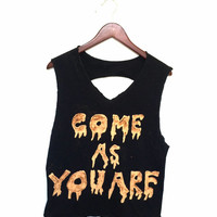 """Black Nirvana Tee - """"Come As You Are"""" with Slashed Back"""