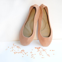 Leather ballerina flat shoes in blush pink gold sparkle custom upcycled