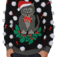 Ugly Cat Christmas Sweater with Bells   Tipsy Elves