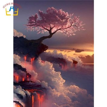 acrylic painting by numbers on canvas paintings decoration living room pink tree on cliff wall art pictures for drawing WY5231