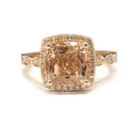 Round Morganite Engagement Ring Pave Diamond Wedding 14K Rose Gold 8mm, Cushion Halo, Art Deco Antique