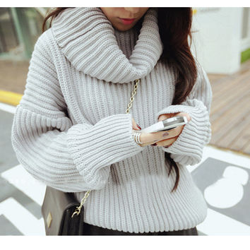 High-Neck Fall Fashion Thick Knit Sweater