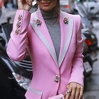 Pretty Powerful Light Pink Floral Button Up Contrast Stripe Lapel Long Sleeve Blazer Jacket Outerwear