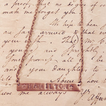 Hamilton Broadway Alexander Hamilton Stamped Name Necklace