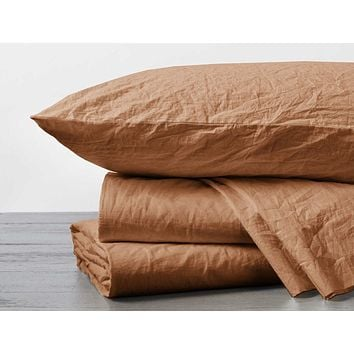 Crinkled Percale Twin Sheet Set in Ginger by Coyuchi