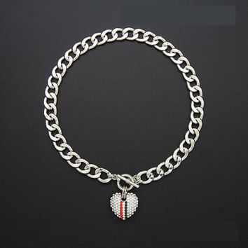 """18"""" silver crystal heart pendant chain link necklace"""
