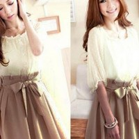 DARLING CHIFFON DRESS WITH BOW TIE WAIST
