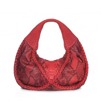 Circle & Square | Infinity Hobo Flame Red Waxed Python