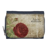 Vintage Red Rose - Personalize Wallets