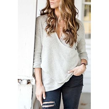 Heather Gray Cross Front Sweater