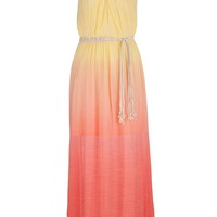 Ombre Maxi Dress With Weaved Rope Belt - Custard