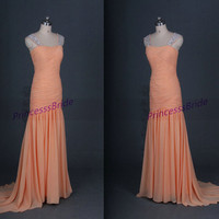 Floor length peach chiffon prom gowns with train,elegant women dress for wedding party,unique cheap evening dresses under 150.