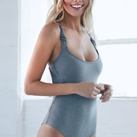 Billabong All About The Details One Piece Bathing Suit Swimsuit - Womens Swimwear - Gray - Medium