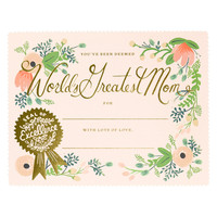 Greatest Mom Certificate Mother's Day Card