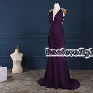 Sexy backless long floor length grape prom dresses,long party dress show the back,hot elegant formal dress,long satin evening dresses gowns