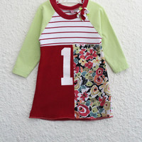 First Birthday Dress made from Upcycled  T Shirts, Girl's Size 1  Recycled Tshirt Dress, Repurposed T Shirt Dress, Baby Dress, Toddler Dress