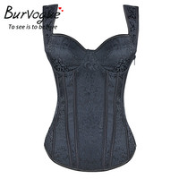 Burvogue Women Steampunk Waist Corset Steel Bone Corset Top Gothic Corset Lace Up Gothic Bustier Spiral Boned Corselet