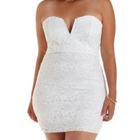 Plus Size White Stapless Lace Bodycon Dress by Charlotte Russe