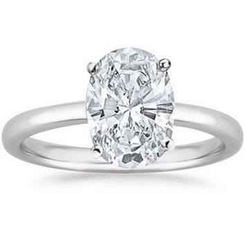 .1/2 - 2 Carat GIA Certified Platinum Solitaire Oval Cut Diamond Engagement Ring (I-J Color, VS1-VS2 Clarity)