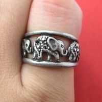 Elephant Animal Ring in Silver