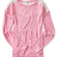 Kids' Long Sleeve Lace Accent Knit Top
