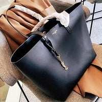 Yves Saint Laurent YSL Women Shopping Leather Tote Handbag Shoulder Bag Purse Wallet Set Two-Piece