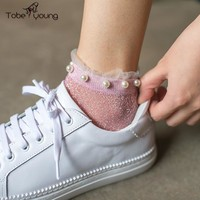 2017 New Glitter Ruffles Crystal Fishnet Ankle Socks Transparent Pearls Stud Shimmer Boat Socks Women Girl Korean Harajuku femme