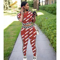 Fendi Fashion New Summer More Letter Top And Pants Sports Leisure Two Piece Suit Women