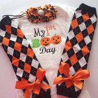 Baby Girl 1st Halloween Outfit - 1st boo day outfit - baby halloween legwarmers - baby girl halloween costume - newborn baby halloween