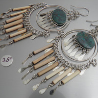 Chrysocolla Green Stone Earrings with Bamboo Tube Beads 3.5 Inches Long Chandelier Model Andrea