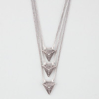 Full Tilt Three Row Triangle Necklace Silver One Size For Women 26032214001