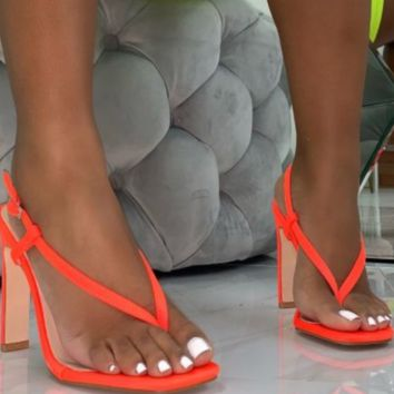 Hot style hot selling sexy versatile flip-toe square sandals