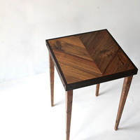 Reclaimed Chevron Table  Modern Side Table  by TheHoneyShack