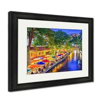 Framed Print, San Antonio Texas USA Cityscape At The River Walk