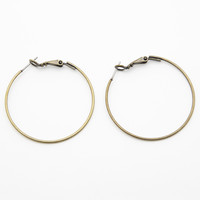 Thin Antique Gold Hoop Earrings