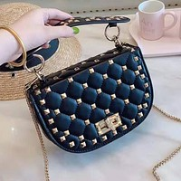Valentino Newest Trending Women Leather Rivet Tote Handbag Shoulder Bag Satchel Black