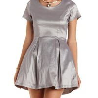Metallic Skater Dress with Crinoline by Charlotte Russe