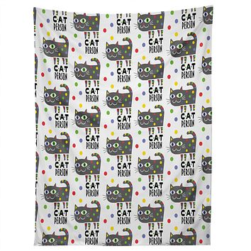 Andi Bird Cat Person Grey Tapestry
