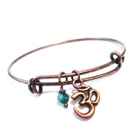 Bangle - Charm Bracelet - Yoga - Om - Emerald - Stacking - Jewellery -  Bohemian Earth Designs - Jewelry - Christmas - Stocking Stuffer
