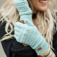 Knitted Texting Gloves - Mint