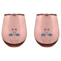 Stemless Cocktail Glasses Flamingo - Set of 2