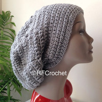XL Medium Gray Slouchy Beanie | Dreadlocks | Bad Hair Day | Adult Crochet Beanie | Men | Women | Curly Hair | Braids | Locs | Tam | SOFT