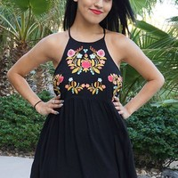 A Day In The Life Black Embroidered Halter Skater Dress